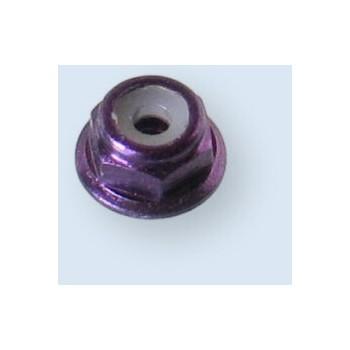 2 mm Alu, selvlåsende møtrik med flange lilla